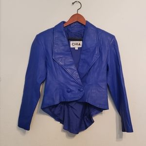 Vintage Womens Chia Small Blue Leather Jacket